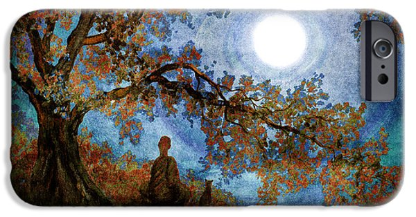 Contemplation iPhone Cases - Harvest Moon Meditation iPhone Case by Laura Iverson