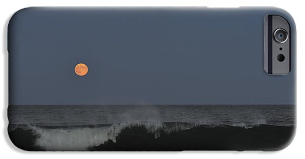 Sea Moon Full Moon Photographs iPhone Cases - Harvest Moon Seaside Park NJ iPhone Case by Terry DeLuco