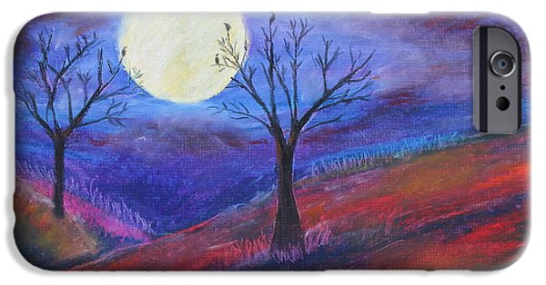 Dark Skies Pastels iPhone Cases - Harvest Moon1 iPhone Case by Jeanne Fischer