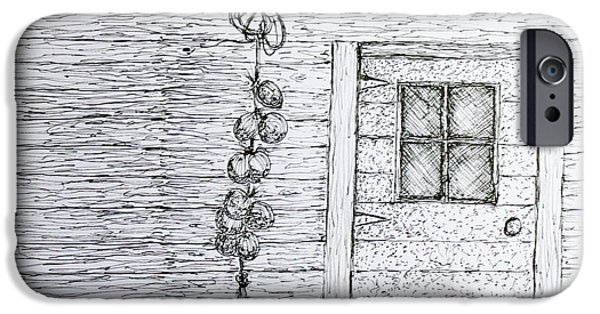 Shed Drawings iPhone Cases - Harvest Shed iPhone Case by Jack G  Brauer