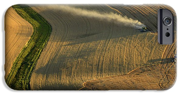 Contour Plowing iPhone Cases - Harvest Time iPhone Case by Latah Trail Foundation