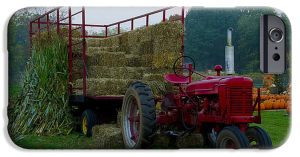 Harvest Time iPhone Cases - Harvest Time Tractor iPhone Case by Bill Cannon
