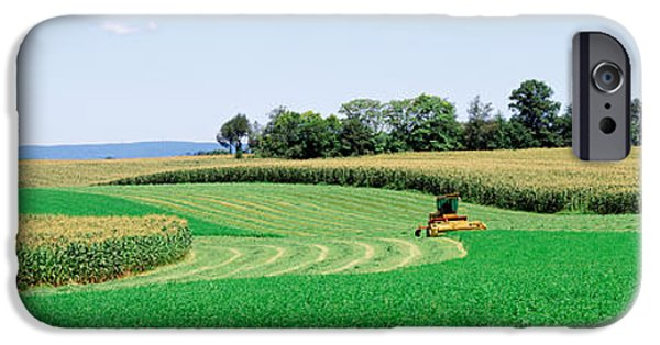 Machinery iPhone Cases - Harvesting, Farm, Frederick County iPhone Case by Panoramic Images