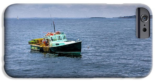 Industry iPhone Cases - Harvesting Lobster off Gloucester Bay iPhone Case by John Bailey
