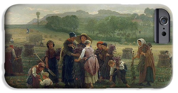 Harvest iPhone Cases - Harvesting Poppies In Picardy, 1860 Oil On Canvas iPhone Case by Desire Francois Laugee