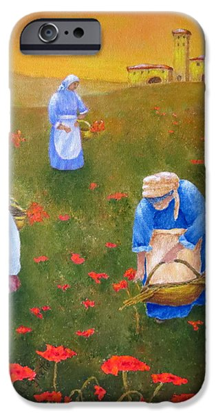 Tuscan Sunset Paintings iPhone Cases - Harvesting Poppies In Tuscany iPhone Case by Pamela Allegretto
