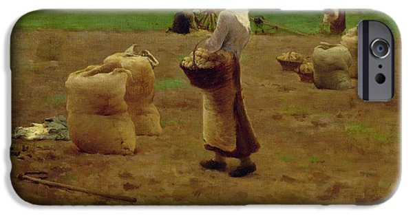 Agriculture iPhone Cases - Harvesting Potatoes Oil On Canvas iPhone Case by Henri Lerolle