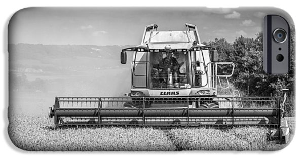 Combine Harvester iPhone Cases - Harvesting Wheat iPhone Case by Gary Gillette