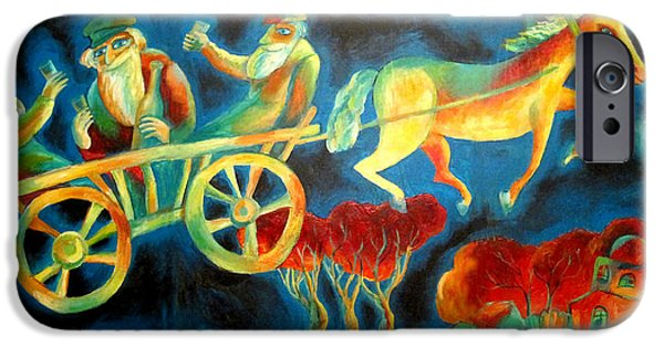 Orthodox Paintings iPhone Cases - Hasidishe journey to Rebbe  iPhone Case by  Leon Zernitsky