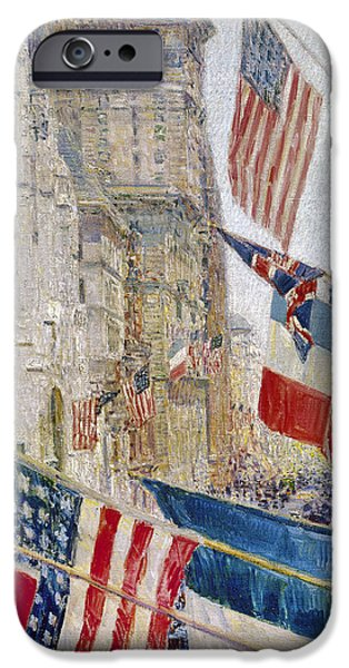 Old Glory iPhone Cases - Hassam: Allies Day, May 1917 iPhone Case by Granger