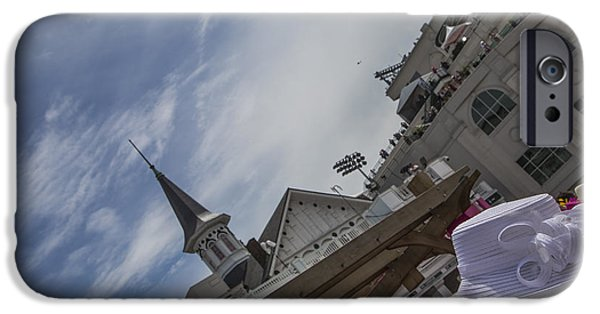 Kentucky Derby Photographs iPhone Cases - Hat and Twin Spire  iPhone Case by John McGraw