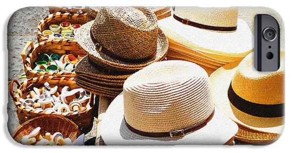 Hat Art iPhone Cases - Hat Market Amalfi Coast Italy  iPhone Case by Irina Sztukowski