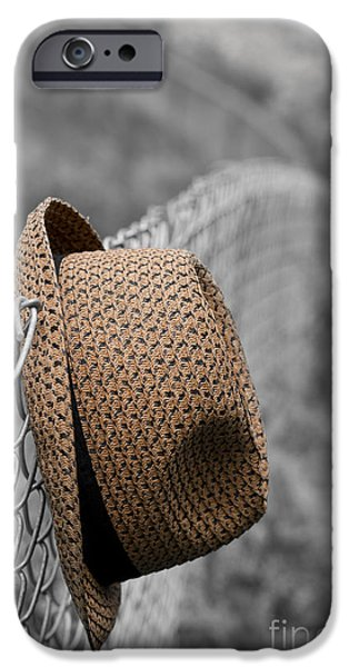 Escape iPhone Cases - Hat on chain link fence iPhone Case by Edward Fielding