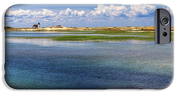 New England Lighthouse iPhone Cases - Hatches Harbor Square iPhone Case by Bill  Wakeley