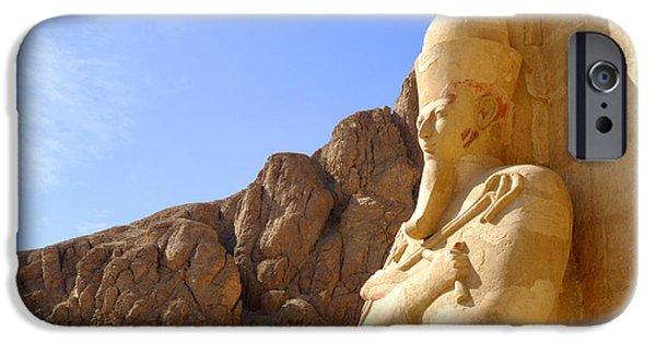Hathor iPhone Cases - Hatshepsut gazing into eternity iPhone Case by Brenda Kean