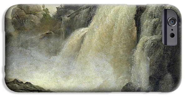 Landscape In Norway iPhone Cases - Haugfoss in Norway iPhone Case by Christian Ernst Bernhard Morgenstern