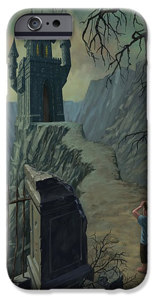 Supernatural Digital Art iPhone Cases - Haunted Castle Nightmare iPhone Case by Martin Davey