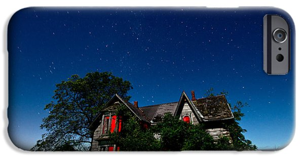 Night iPhone Cases - Haunted Farmhouse at Night iPhone Case by Cale Best
