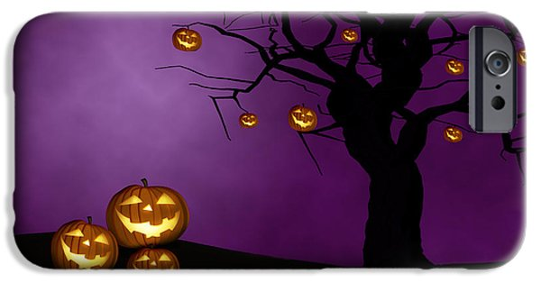 Jack O Lantern iPhone Cases - Haunted Halloween iPhone Case by Juli Scalzi
