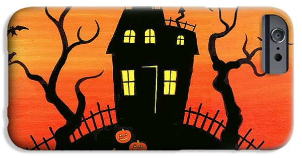 Haunted House Paintings iPhone Cases - Haunted House part one iPhone Case by Linda Mears