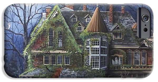 Haunted House Paintings iPhone Cases - Haunted Mansion iPhone Case by Debbi Wetzel