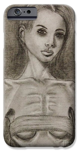 Disorder Drawings iPhone Cases - Haunted iPhone Case by Michael Cross