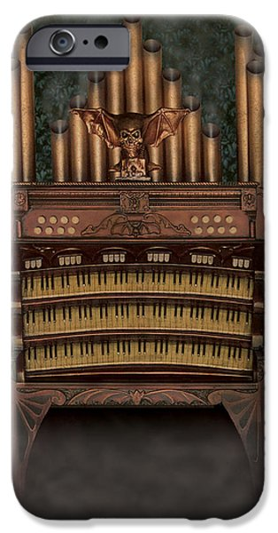 Creepy Sculptures iPhone Cases - Haunted Pipe Organ iPhone Case by Bill Jonas