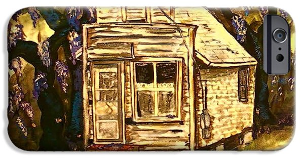 Haunted House iPhone Cases - Haunted Wisteria iPhone Case by Alexandria Weaselwise Busen