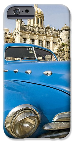 Indy Car iPhone Cases - Havana Capitol And Old American Car iPhone Case by Tips Images