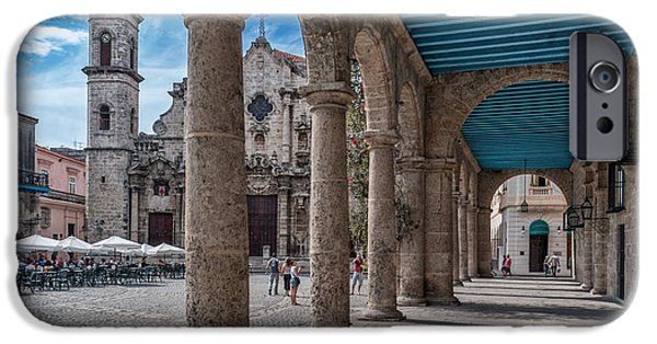 Historic Site iPhone Cases - Havana Cathedral and porches. Cuba iPhone Case by Juan Carlos Ferro Duque