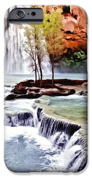 Grand Canyon iPhone Cases - Havasau Falls Painting iPhone Case by  Bob and Nadine Johnston