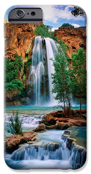 Cliffs iPhone Cases - Havasu Cascades iPhone Case by Inge Johnsson