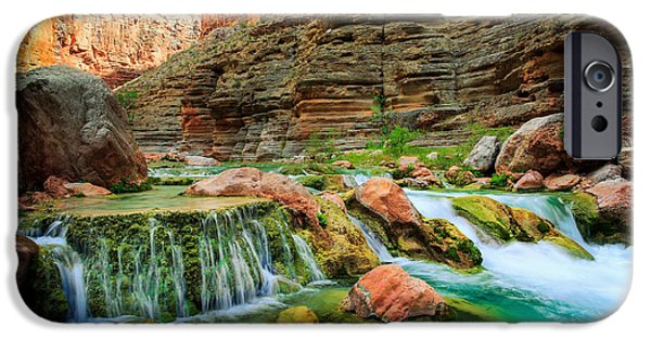 Grand Canyon iPhone Cases - Havasu Creek Cascade iPhone Case by Inge Johnsson