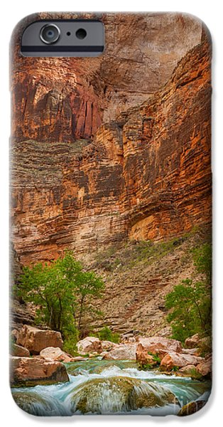 Grand Canyon iPhone Cases - Havasu Creek Number 3 iPhone Case by Inge Johnsson