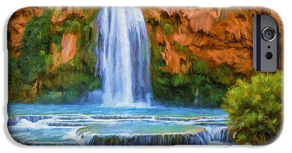 Canyons Paintings iPhone Cases - Havasu Falls iPhone Case by David Wagner