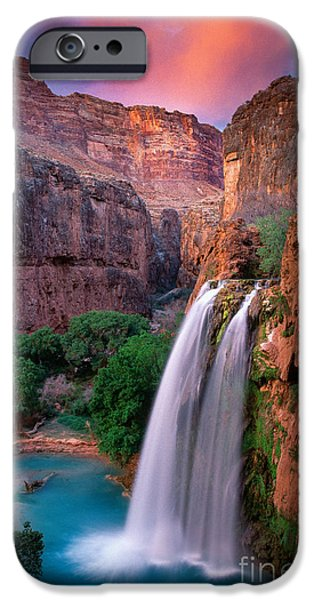 Cliffs iPhone Cases - Havasu Falls iPhone Case by Inge Johnsson