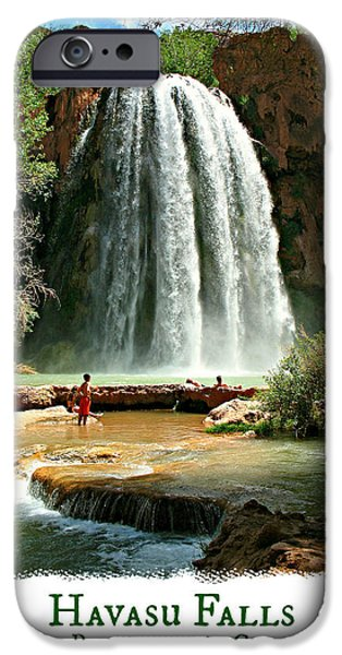 Grand Canyon iPhone Cases - Havasu Falls - Poster iPhone Case by Stephen Stookey