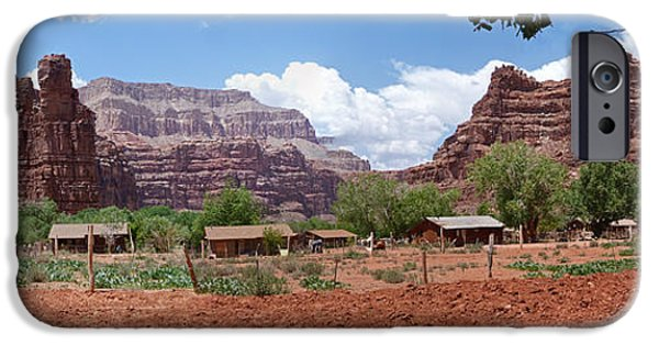 Village iPhone Cases - Havasupai Village Panorama iPhone Case by Alan Socolik