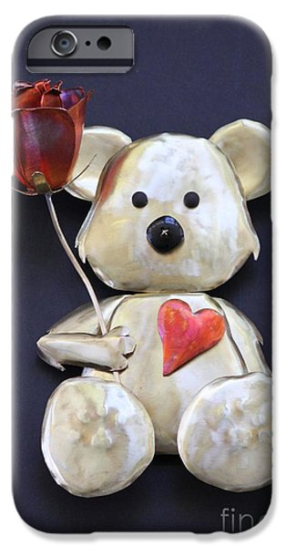 Floral Sculptures iPhone Cases - Have a Heart Teddy Bear iPhone Case by Melody Ballard