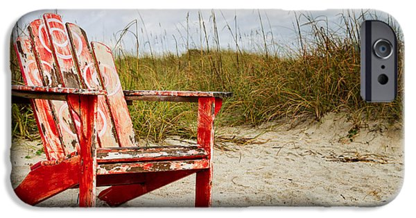 Adirondack Chairs On The Beach iPhone Cases - Have a Seat Adirondack Chair on the Beach Amelia Island Florida iPhone Case by Dawna  Moore Photography