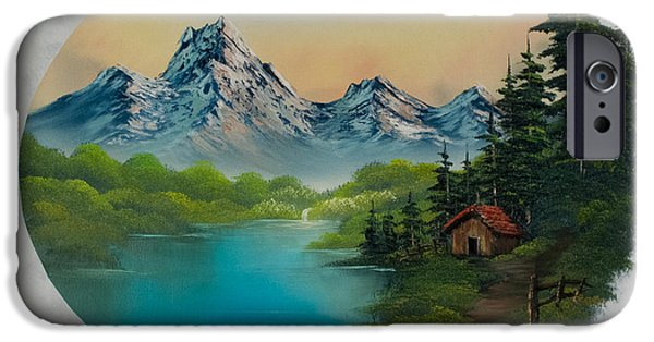 Recently Sold -  - Bob Ross Paintings iPhone Cases - Cabin in the Valley iPhone Case by C Steele