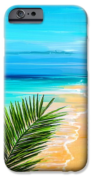 Abstract Seascape Paintings iPhone Cases - Haven Of Bliss iPhone Case by Lourry Legarde