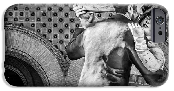 Candid Photographs iPhone Cases - Having Fun Sculpture 3 Key West - Black and White iPhone Case by Ian Monk