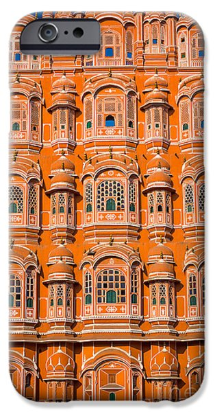 Facade iPhone Cases - Hawa Mahal iPhone Case by Inge Johnsson