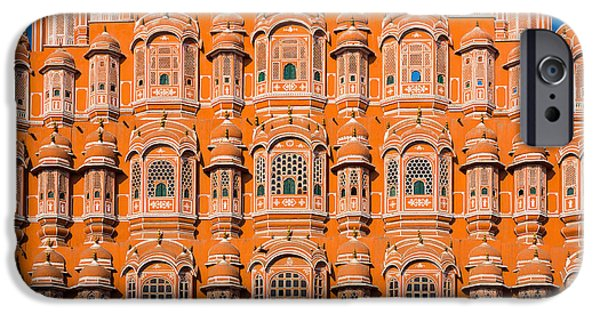 Facade iPhone Cases - Hawa Mahal Moon iPhone Case by Inge Johnsson