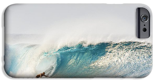 Adrenaline iPhone Cases - Hawaii, Maui, Kapalua, Surfer Riding A Wave iPhone Case by MakenaStockMedia