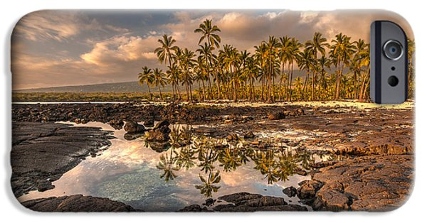Big Island iPhone Cases - Hawaii Place of Refuge Tidepools Sunset iPhone Case by Mike Reid