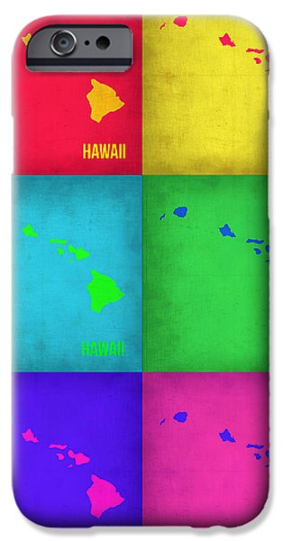 Contemporary Poster iPhone Cases - Hawaii Pop Art Map 1 iPhone Case by Naxart Studio