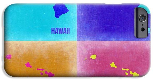 Street Maps iPhone Cases - Hawaii Pop Art Map 2 iPhone Case by Naxart Studio