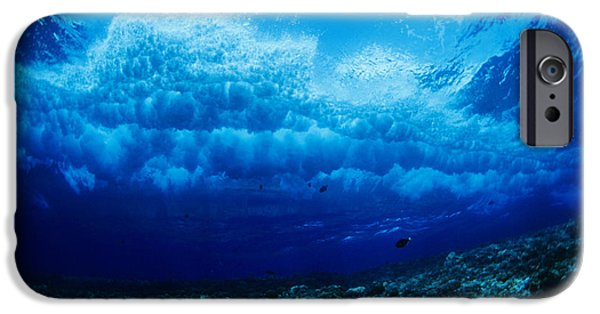 Dave iPhone Cases - Hawaii, Underwater View Of Wave iPhone Case by Dave Fleetham